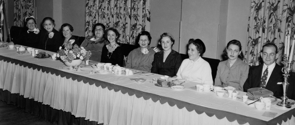 1954, Sisterhood presidents' luncheon; Gladys and Rabbi Gewirtz at far right.